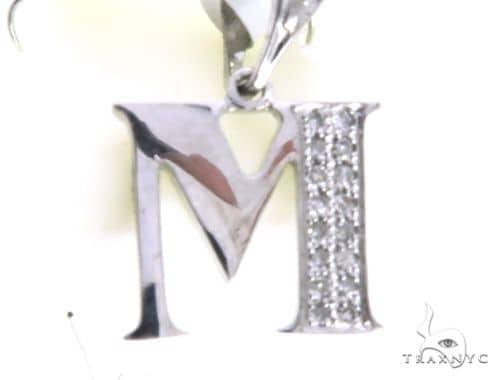 14K White Gold Micro Pave Diamond Alphabet M Pendant 63165 Stone