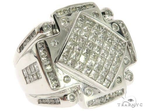 14K White Gold Mens Round Princess Cut Diamond Ring 63170 Stone
