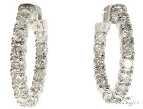 14K White Gold In & Out Prong Diamond Hoop Earrings 63171 10k, 14k, 18k Gold Earrings