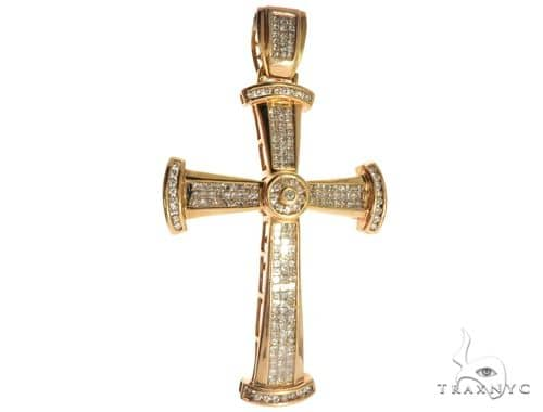 14K Yellow Gold Prong Invisible Channel Bezel Diamond Cross 63173 Diamond