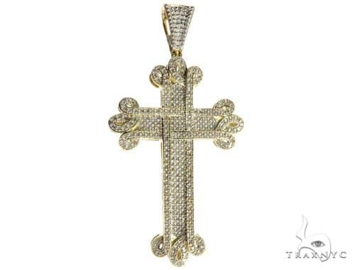 10K Yellow Gold Micro Pave Diamond Cross 63183 Diamond