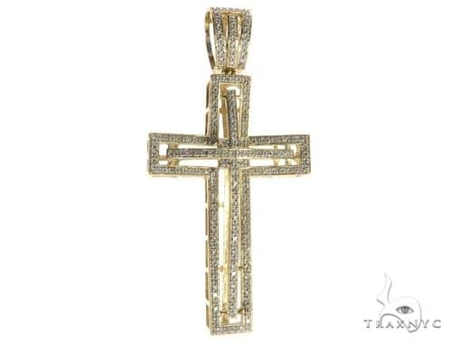 10K Yellow Gold Micro Pave Diamond Cross 63184 Diamond