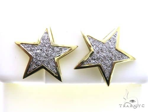 10K Yellow Gold Micro Pave Diamond Star Stud Earrings 63188 Stone