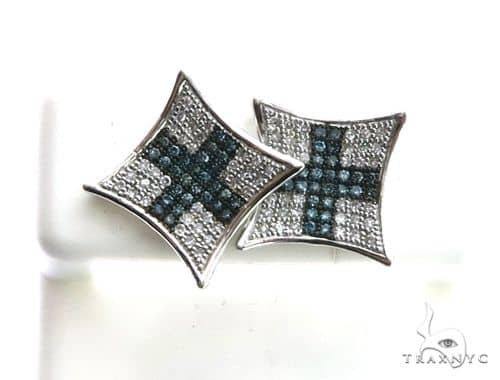 14K White Gold Micro Pave Diamond XL Earrings 63197 Stone