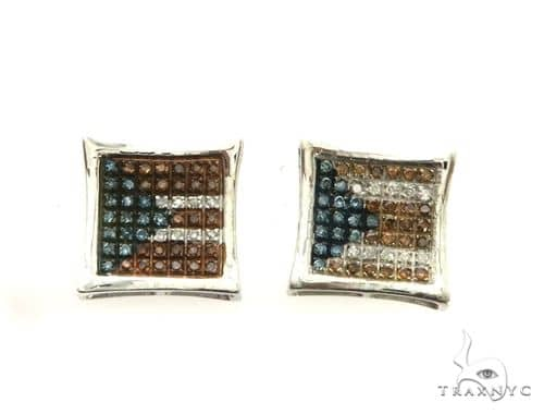 14K White Gold Micro Pave Puerto Rican Earrings. 63199 Stone