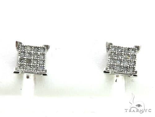 10K White Gold Micro Pave Diamond Stud Earrings. 63200 Stone