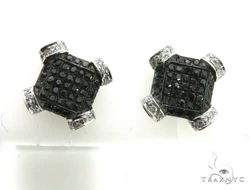 10K White Gold Micro Pave Diamond Stud Earrings. 63201 Stone
