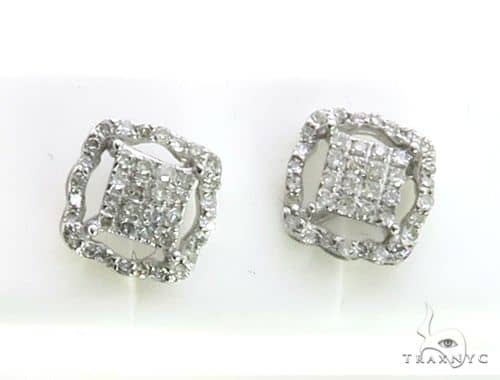 10K White Gold Micro Pave Diamond Stud Earrings. 63203 Stone