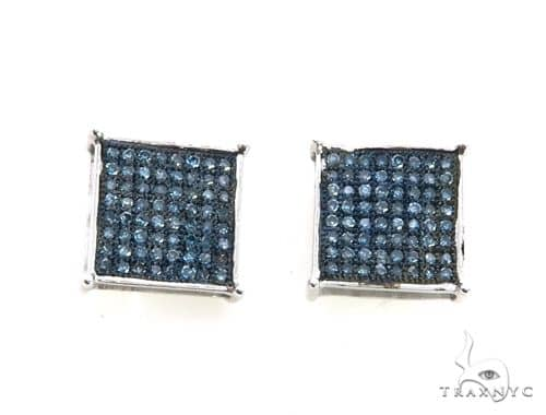 14K White Gold Micro Pave Diamond Stud Earrings. 63205 Stone