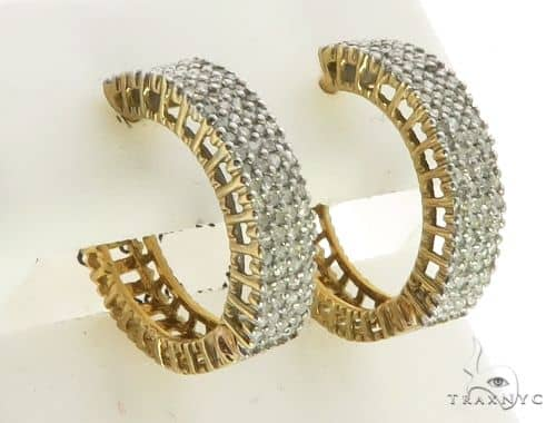 10K Yellow Gold Micro Pave Diamond Stud Round Earrings. 63207 Stone