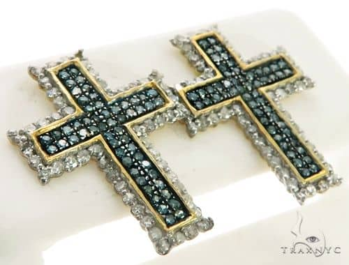 10K Yellow Gold Micro Pave Diamond Stud Cross Earrings. 63217 Stone