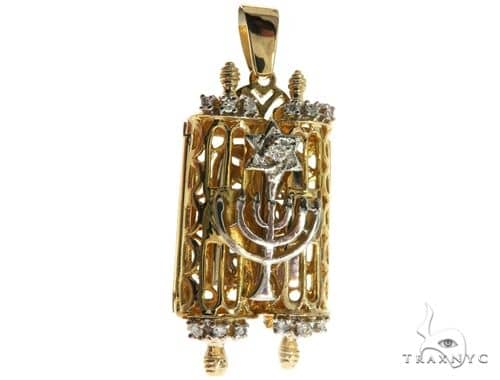 14K Two Tone Gold Prong Diamond Torah Pendant Small Metal