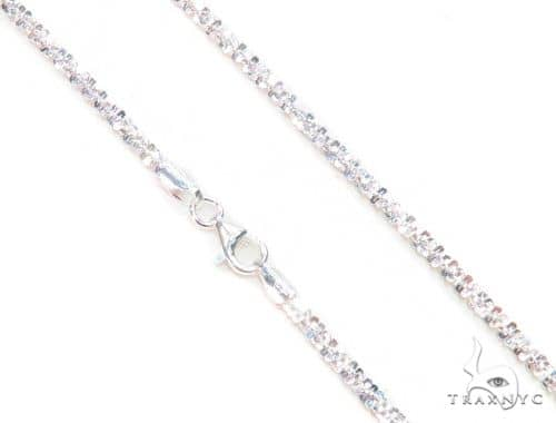 White Silver Glitter Chain 16 Inches, 2mm, 3.90 Grams 63269 Silver