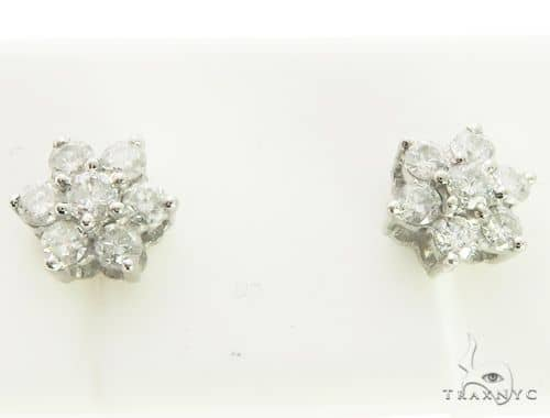 14K White Gold Micro Pave Diamond Flower Stud Earrings. 63281 Stone