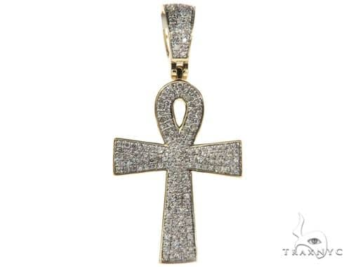 10K Yellow Gold Micro Pave Diamond Ankh Cross 63291 Metal