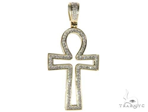 10K Yellow Gold Micro Pave Diamond Ankh Cross 63292 Metal