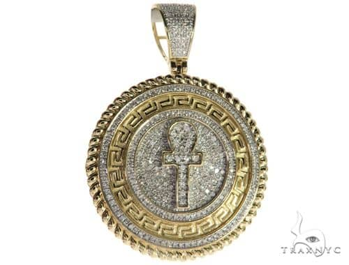 10K Yellow Gold Micro Pave Diamond Ankh Cross Pendant 63295 Metal