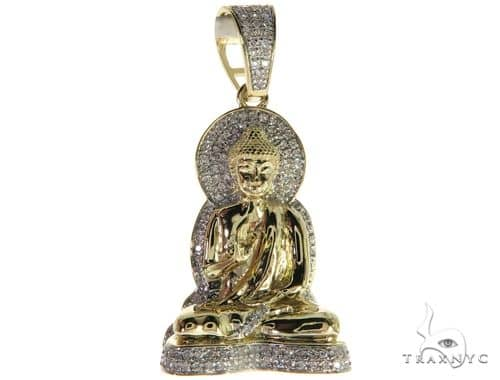 10K Yellow Gold Micro Pave Diamond Buddha Charm Pendant 63296 Metal