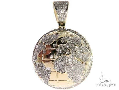 10K Yellow Gold Micro Pave Diamond Earth Globe Charm Pendant 63297 Metal