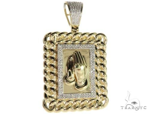 10K Yellow Gold Micro Pave Diamond Praying Hands Worship Charm Pendant 63305 Metal