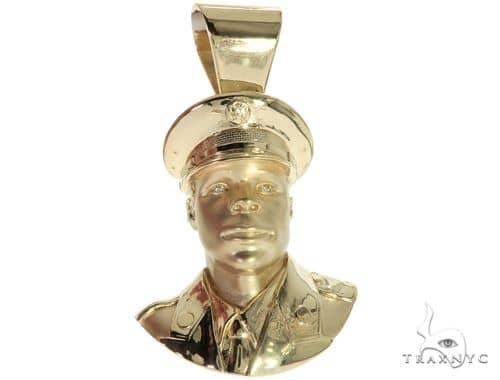 14K Yellow Gold Bezel Diamond Patriot the American Soldier Charm Pendant 63309 Metal