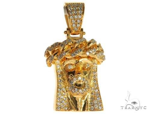 14K Yellow Gold Pave Bezel Diamond Jesus Piece Charm Pendant 63310 Metal