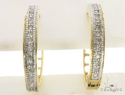 14K White Gold Micro Pave Diamond Stud Earrings. 63318 Stone