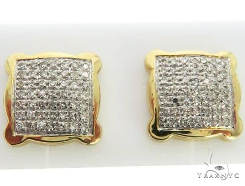 10K Yellow Gold Micro Pave Diamond Square Stud Earrings. 63321 Stone