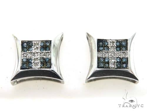 10K White Gold Micro Pave Diamond Stud Earrings 63328 Stone