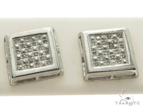 10K White Gold Micro Pave Diamond Stud Earrings. 63334 Stone