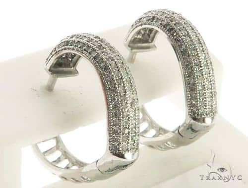 10K White Gold Micro Pave Diamond Stud Earrings. 63338 Stone