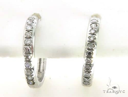 14K White Gold Micro Pave Round Diamond Earrings. 63341 Stone