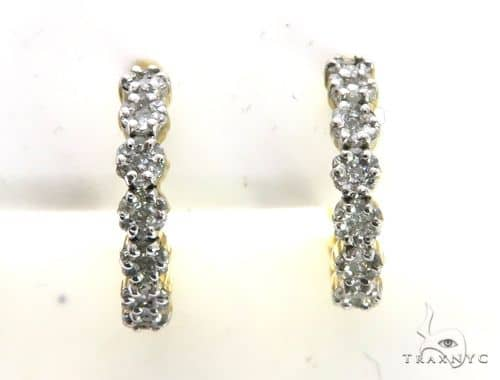 14K Yellow Gold Micro Pave Diamond Stud Round Earrings. 63343 Stone