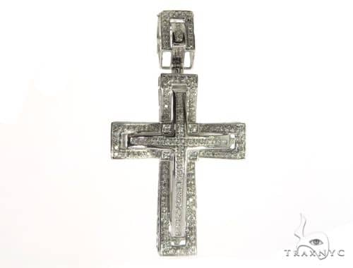 14K White Gold Diamond Cross Pendant. 63345 Metal