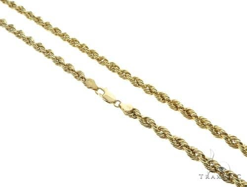 10K Yellow Gold Hollow Rope Link Chain 30 Inches 6.5mm 21.3 Grams 63369 Gold
