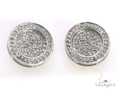 Sterling Silver Round Earrings 63399 Stone