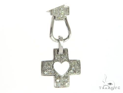 14K White Gold Diamond Cross Pendant. 63403 Stone