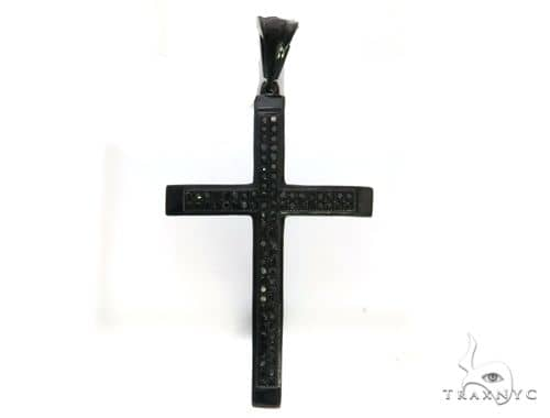 10k Black Gold Micro Pave Diamond Stud Cross Pendant. 63411 Metal