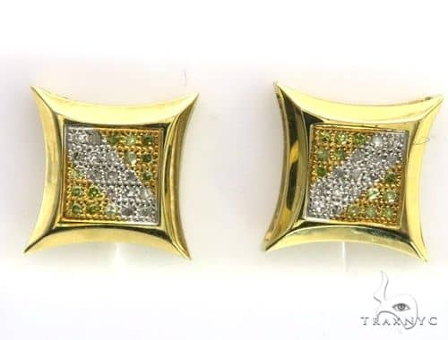 14K Yellow Gold Micro Pave Diamond Stud Earrings. 63431 Stone