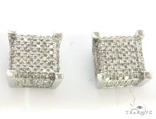 10K White Gold Micro Pave Diamond Stud Earrings. 63433 Stone
