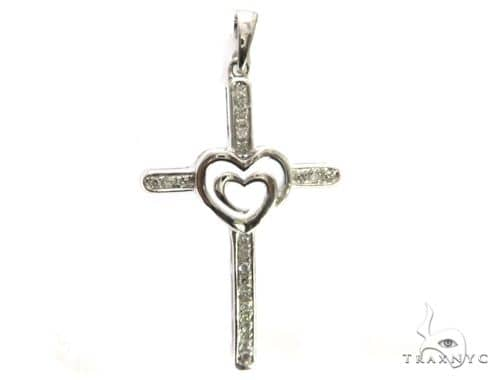 14K White Gold Diamond Cross Pendant 63452 Stone