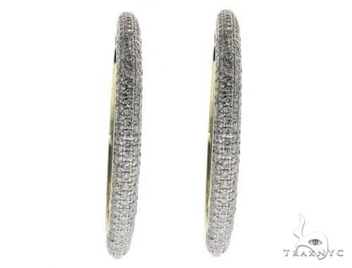 Ladies 5 Row Yellow Gold Diamond Hoop Earrings 20896 Style
