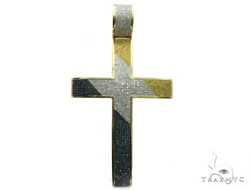 14K Yellow Gold Micro Pave Diamond Tri Color Cross 63470 Metal