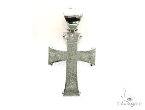10K White Gold Micro Pave Diamond Cross Design Pendant 63471 Metal