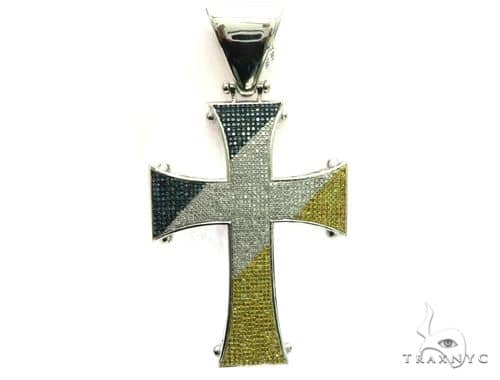 10K White Gold Micro Pave Diamond Tri Color Cross Pendant. 63472 Metal