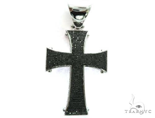 10K White Gold Black Diamond Cross Pendant. 63473 Metal