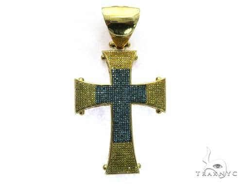 10K Yellow Gold Micro Pave Diamond Cross Pendant. 63475 Metal