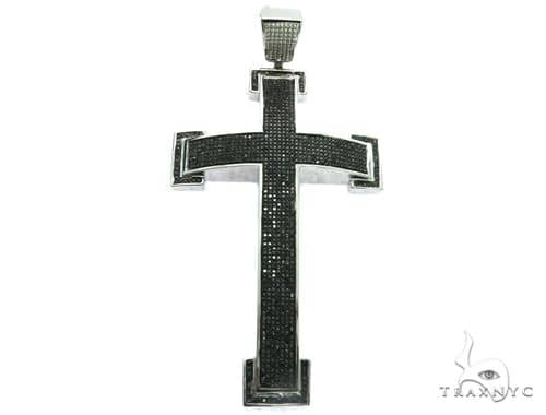 10K White Gold Black Diamond Cross Design Pendant. 63479 Metal