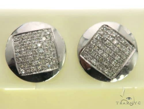 10K White Gold Micro Pave Diamond Stud Round Earrings. 63491 Stone