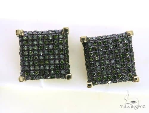 14K Yellow Gold Micro Pave Green Diamond Earrings. 63492 Stone
